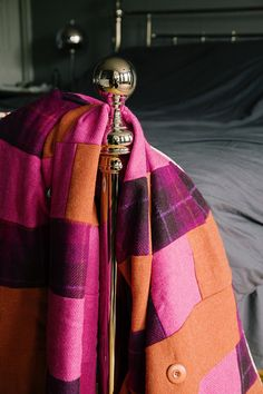 Bold orange, hot pink and purple tartan Harris tweed & brown mole velvet quilt