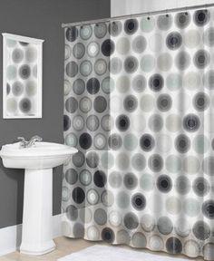 Splash Home Nova Vinyl Shower Curtain with Black Grey and Tan Retro Swirls - Shower Curtains