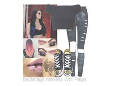 Backstage Interview With Paige by amysykes-697 on Polyvore featuring Michael Kors, The Ragged Priest, Converse, Kenzie, WWE and paige