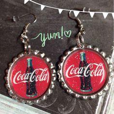 Coca Cola Bottle Cap Earrings by bluedivacreations on Etsy, $6.00