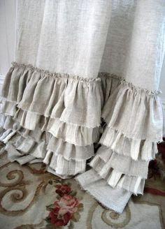 burlap ruffle...bed skirt maybe???