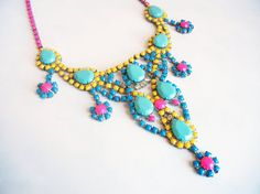 The Cece Necklace - Vintage 1950s Hand Painted Bold Turquoise Rhinestone Bib Necklace