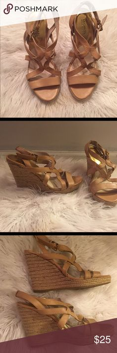 MICHAEL Michael Kors wedges Peach / blush almost tan wedges ! They do have some wear such as  a couple spots on the sides as pictured ,the bottoms have minor wear , and has some pulling on wedge but overall they still have a ton of life left to them ! MICHAEL Michael Kors Shoes Wedges