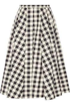 Gingham cotton midi skirt #skirt #women #covetme #michaelkors