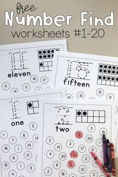 Number Find Worksheets Print this free preschool and kindergarten math activity to promote number recognition! Kids find the featured number and color or dab it. Get free printable number worksheets in the bundle! Kindergarten Math Activities, Numbers Kindergarten, Free Preschool, Teaching Math, Free Printable Kindergarten Worksheets, Learning Numbers Preschool, Preschool Education, Kids Printable Activities, Kindergarten Teachers