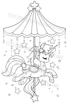 Celestial Carousel - Cloud Pegasus by YamPuff on DeviantArt Star Coloring Pages, Unicorn Coloring Pages, Animal Coloring Pages, Coloring For Kids, Adult Coloring Pages, Coloring Sheets, Coloring Books, Colouring, Digi Stamps
