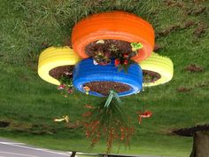 Recycle tire with plants in your garden!