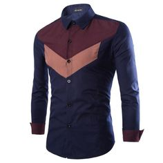YUNY Mens Peaked Collar Patterned Trible 3D Long-Sleeve Work Shirt Blue 2XL