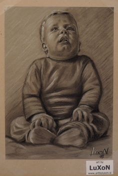 Portret, Charcoal on toned paper, A4 format