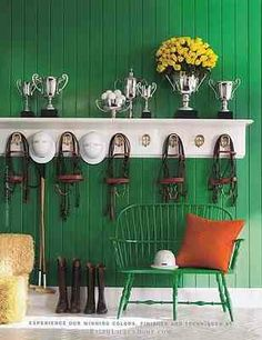 Eclectic green entryway