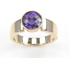 Purple Amethyst Gold Ring Women's Ring  Fine Jewelry by bskdesigns, $450.00