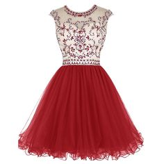 Modern Short Jewel Cap Sleeves Open Back Dark Red Homecoming Dresses Beaded