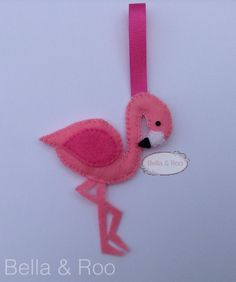 Flamingo Hanging Decoration or bag charm by BellaandRoo on Etsy
