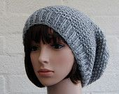 Knitted Slouchy Beanie hatin Silver Grey/ knitted Beanie hat/Chunky knit slouchy hat, winter hat