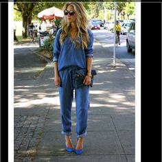 47bd3256098 Michael Stars Denim Tencel Henley   Drawstring Pant on A Fashion Love Affair