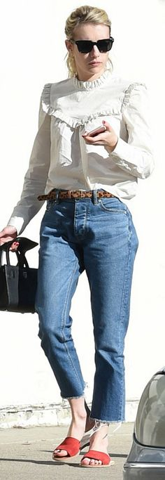 Emma Roberts wearing Rebecca Taylor, Warby Parker and 1928 Collection