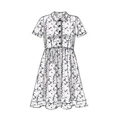 Cute shirtdress sewing pattern from McCall's with sleeve variations. M7314, Misses' Button-Up Dresses