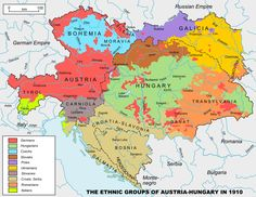 """The ethnic groups of Austria-Hungary in 1910. Based on """"Distribution of Races in Austria-Hungary"""" from the Historical Atlas by William R. Shepherd, 1911, File:Austria_hungary_1911.jpg. The city names were changed to those in use since 1945."""