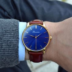 Classic Blue/G on the wrist. Free shipping worldwide - www.bonvier.com #bonvier #watches #orologi