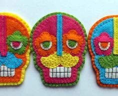 Mexican Folk Art Calavera Sugar Skull Brooch.