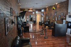 would really like to accentuate the shop itself as well. Tribal Face Tattoo, Tattoo Studio Interior, Trinity Tattoo, Private Tattoos, Tattoo Salon, Modern Industrial Decor, Statue Tattoo, Salon Furniture, Tattoo Parlors