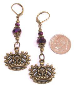 CROWN Purple Crystal Roundel Bronze Tn Charm LeverBack Drop Earrings HANDCRAFTED #BusyBeeBumbleBeads #DropDangle