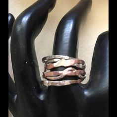 ✳️SALE ✳️Sterling Silver & Copper Stacking Rings You get 2 925 Sterling silver stacking rings and 2 braided Copper & Sterling silver rings. You can wear alone or all together per the 2 braided rings together too. It's a eye catcher  LalasjewelryDesigns Jewelry Rings