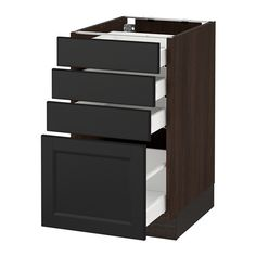"""SEKTION Base cabinet with 4 drawers - wood effect brown, Ma, Laxarby black-brown, 18x24x30 """" - IKEA"""