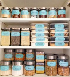 """Chicken Enchiladas Discover Retro Blue """"Bins and Containers"""" Pantry Labels Collection - Printable PDF - Kitchen Organization Kitchen Organization Pantry, Kitchen Pantry, Kitchen Hacks, Diy Kitchen, Home Organization, Organized Pantry, Medicine Organization, Household Organization, Pantry Shelving"""