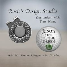 Items similar to Custom Golf Ball Marker and Hat Clip Set - King of the Green Golfball Marker - Custom Golf Gift for Guy - Gift for golfer - Golfing Gift on Etsy