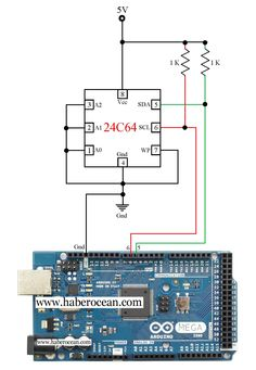 design a circuit for reading and writing data to a eeprom integrated circuit chip using arduino mega. simple, efficient and working circuit for reading and writing number to Arduino Parts, Arduino Circuit, Diy Electronics, Electronics Projects, Quad, Beaglebone Black, Arduino Shield, Micro Computer, Electrum