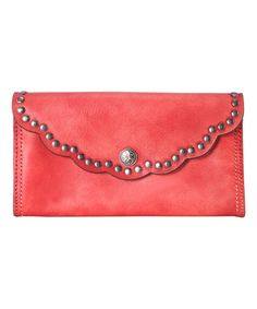 Look at this #zulilyfind! Red Studded Scallop Leather Wallet #zulilyfinds
