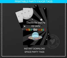 Space Party Space Party Printable Space Party by NRCDesignStudio Party Favor Tags, Party Favors, Space Cupcakes, Space Party, Thank You Tags, Party Themes, Party Ideas, I Party, Outer Space