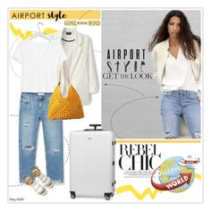 """""""Get the Look: Airport Style"""" by mcheffer ❤ liked on Polyvore featuring Banana Republic, MANGO, Mar y Sol, Rimowa, GetTheLook and airportstyle"""