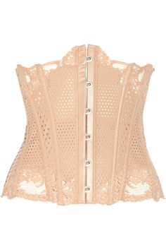 la perla lace-trimmed perforated leather corset