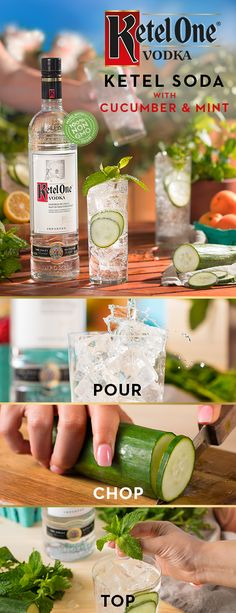 Call up the girls and fix smooth Ketel Sodas with Cucumber & Mint for the group. To enjoy, simply pour 1.5 oz Ketel One® Vodka, made from 100% non-GMO grain into a glass over ice. Add in thinly sliced cucumber, top with 3 oz club soda, and garnish with mint sprig. This recipe is great for hosting all year round. Raise a glass to friends and fresh cocktails!