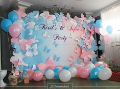 49 Trendy Baby Shower Themes For Gils Princess Balloons Butterfly 1st Birthday, 1st Birthday Party For Girls, Butterfly Baby Shower, Birthday Party Decorations, Birthday Ideas, Baby Shower Balloons, Baby Shower Themes, Baby Shower Centerpieces, Baby Shower Decorations