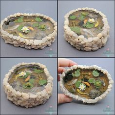 Miniature Stone Pond by Bon-AppetEats. The pond base, lily pads, water lily, fish, and frog are made from polymer clay. The water is clear resin. I want to make one!!!!