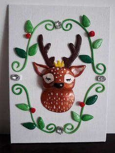 Tableau  trophée tête de cerf en fimo 3D pour décoration