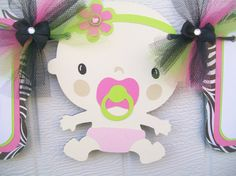 Door Signs Available Banners Party Packages Favor Tags 12 Hot Pink /& Lime Green Dot Owl Theme Shower Cupcake Toppers