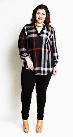 Plus Size Clothing for Women - Jessica Kane Plus Size Plaid Top - Black (Sizes 16 - - Society+ - Society Plus - Buy Online Now! Curvy Fashion, Look Fashion, Plus Size Fashion, Fashion Outfits, Womens Fashion, Plus Size Girls, Plus Size Tops, Plus Size Women, Looks Plus Size