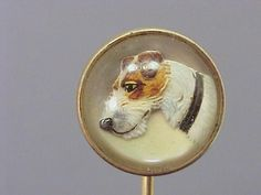 18k yellow gold ESSEX ROCK CRYSTAL Stick Pin - hand painted TERRIER Dog/ signed - circa 1885.