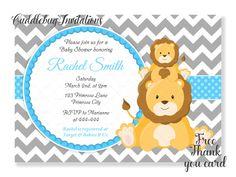 León bebé ducha invitación  Muchacho bebé ducha invitación de