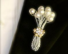 boutonniere holder | boutonniere or button hole for gro om with pearls and brooch 25 00 usd ...