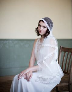 Juliet cap veil in Ivory Silk tulle with lace and by AgnesHart, $230.00