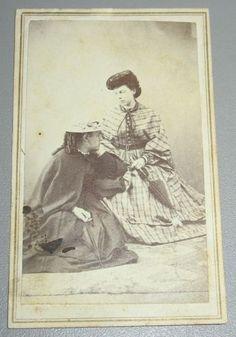 Artfully-Posed-CDV-Civil-War-era-Two-Young-Women-Hats-Umbrellas