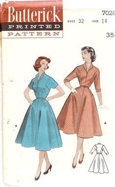 1950s Gored Skirt Dress Pattern Stand up Collar by CherryCorners, $11.00
