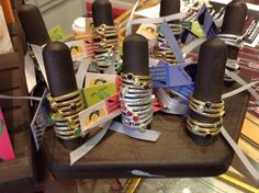 Sterling silver and 14k gold plated stackable rings.. Nickel free...