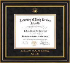 UNC Asheville U Diploma Frame-Satin Black-w/UNCA Seal-Black Suede/Gold – Professional Framing Company