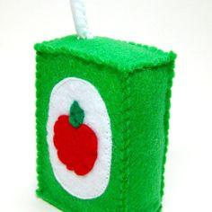 Felt Play Food Juice Box  Apple by bugbitesplayfood on Etsy, $10.00